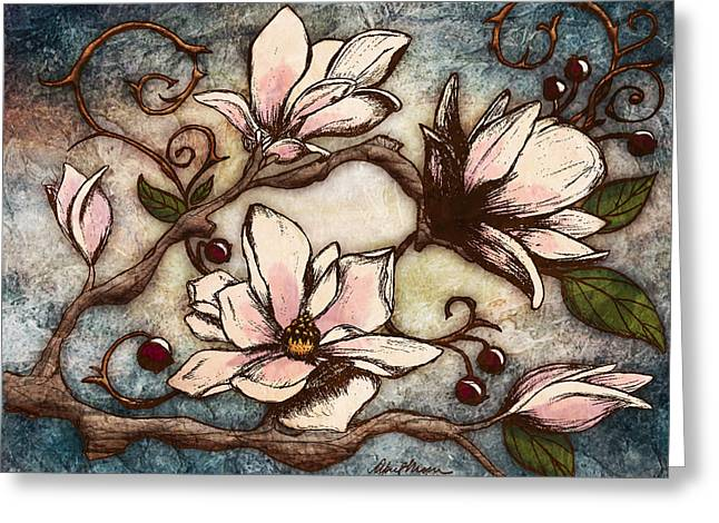Blue Flowers Digital Art Greeting Cards - Magnolia Branch I Greeting Card by April Moen