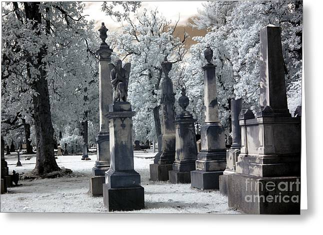 Dreamy Infrared Photo Art Greeting Cards - Magnolia Cemetery - Augusta Georgia - Confederate Military Graveyard  Greeting Card by Kathy Fornal