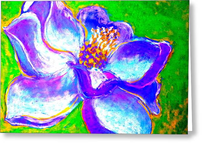 White Paintings Greeting Cards - Magnolia Flower Greeting Card by Sue Jacobi