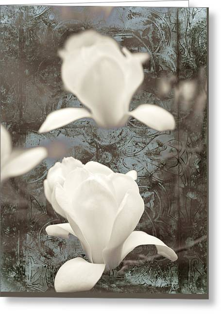 Chic Mixed Media Greeting Cards - Magnolia Greeting Card by Frank Tschakert