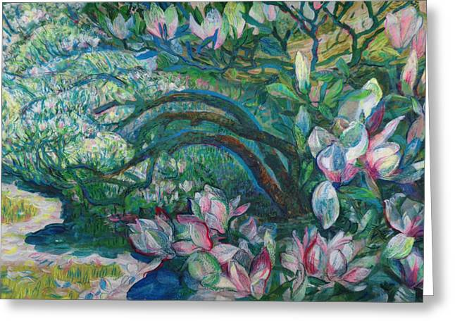 Spring Pastels Greeting Cards - Magnolia in Ordrupgaard Greeting Card by Olga Sorokina