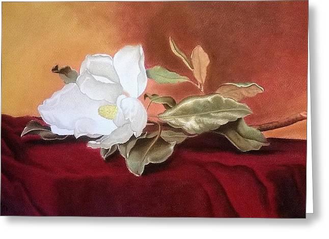 White Cloth Greeting Cards - Magnolia Greeting Card by Mojgan Jafari