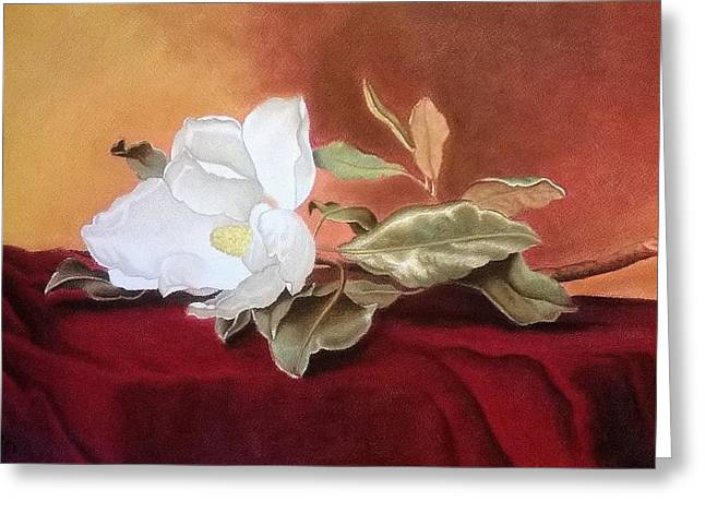 White Cloth Greeting Cards - Magnolia Greeting Card by Mojgan Jafari