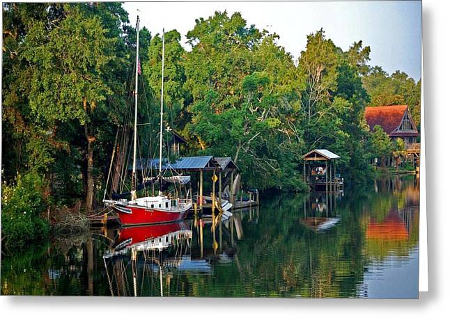 Crimson Tide Digital Art Greeting Cards - Magnolia Red Boat Greeting Card by Michael Thomas