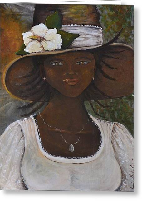 African Heritage Mixed Media Greeting Cards - Magnolia Greeting Card by Sonja Griffin Evans