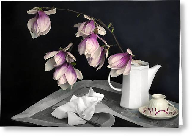 Still Life With Pitcher Greeting Cards - Magnolia Still Greeting Card by Diana Angstadt