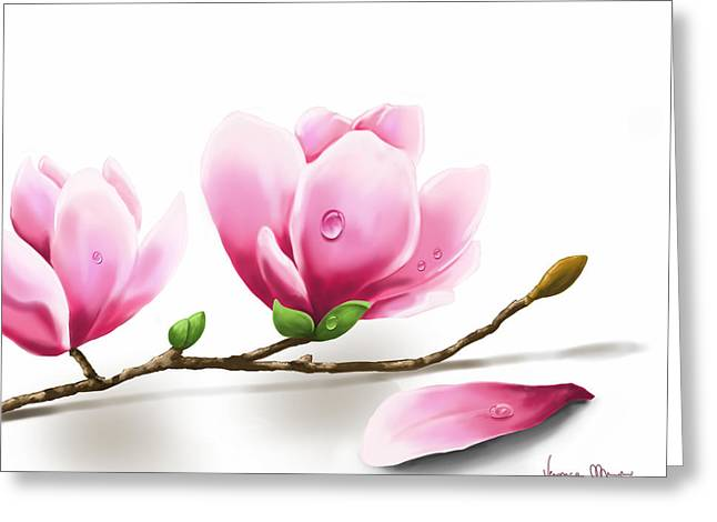 Digital Flower Greeting Cards - Magnolia Greeting Card by Veronica Minozzi
