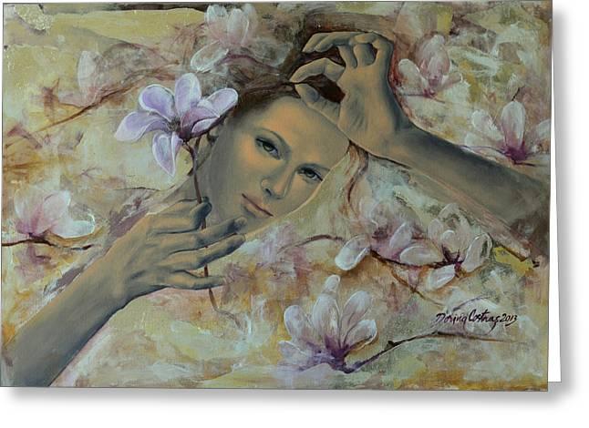 Live Art Greeting Cards - Magnolias Greeting Card by Dorina  Costras