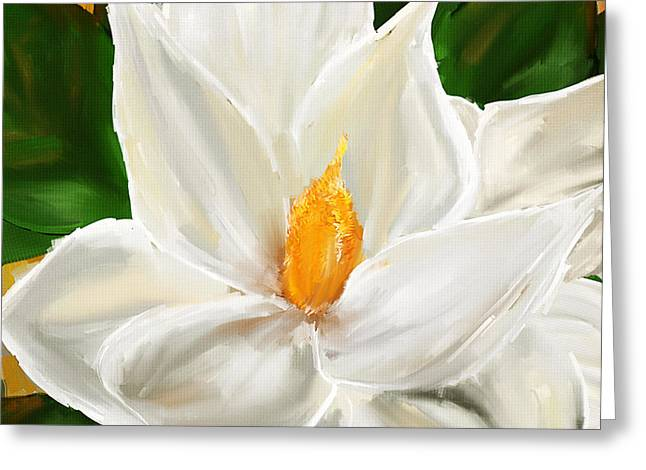 White And Green Greeting Cards - Magnolias Elegance- Magnolia Paintings Greeting Card by Lourry Legarde