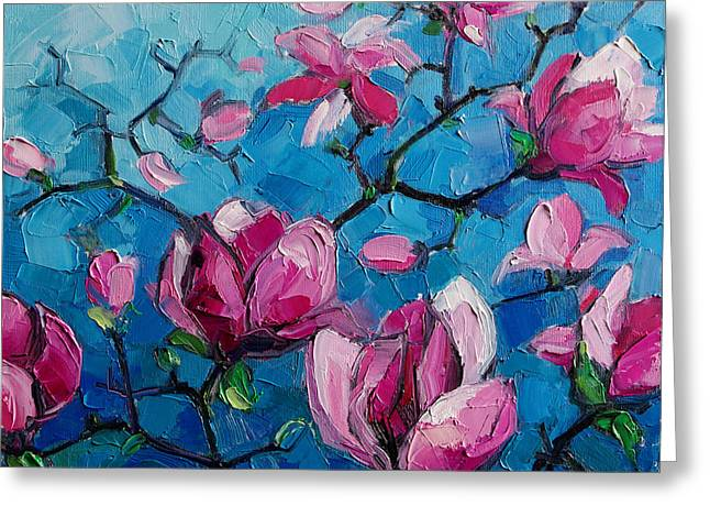 Cyan Greeting Cards - Magnolias For Ever Greeting Card by Mona Edulesco