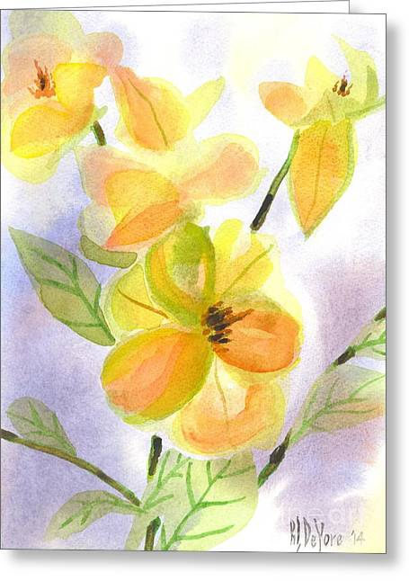 Green And Yellow Greeting Cards - Magnolias Gentle Greeting Card by Kip DeVore