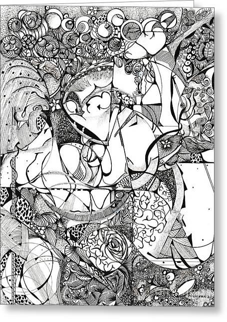 Outer Space Drawings Greeting Cards - Magnum Mix Greeting Card by Ronda Breen