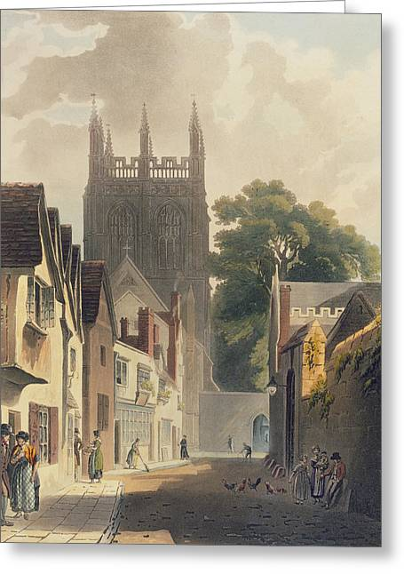 Notre Dame Drawings Greeting Cards - Magpie Lane, Oxford, Illustration Greeting Card by Augustus Charles Pugin