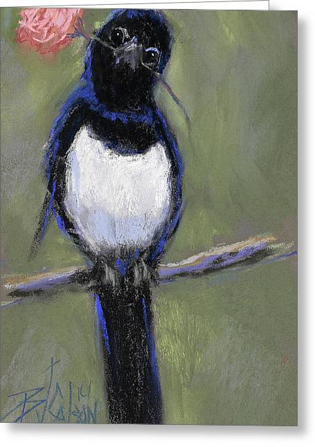 Valentine Pastels Greeting Cards - Magpie Love Greeting Card by Billie Colson