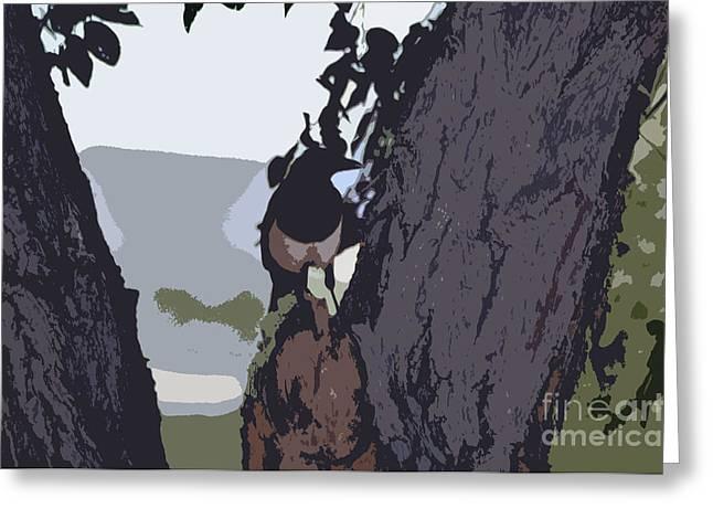 Juls Adams Greeting Cards - Magpie Morning  Greeting Card by Juls Adams