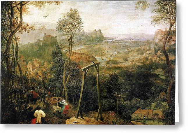 Gallows Greeting Cards - Magpie on the Gallows Greeting Card by Pieter Bruegel the Elder