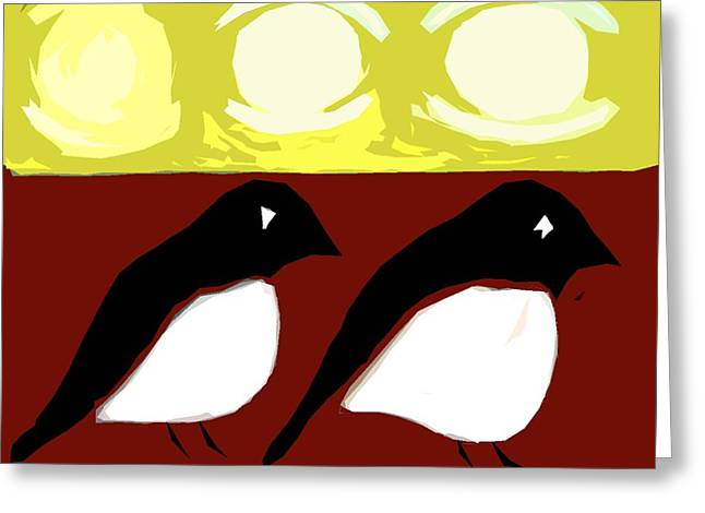Print Card Greeting Cards - Magpies 2 Greeting Card by Patrick J Murphy