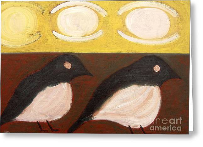T Shirts Greeting Cards - Magpies Greeting Card by Patrick J Murphy