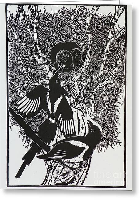 Baby Bird Drawings Greeting Cards - Magpies -- Woodcut Illustration for Corvidae Greeting Card by Dawn Senior-Trask