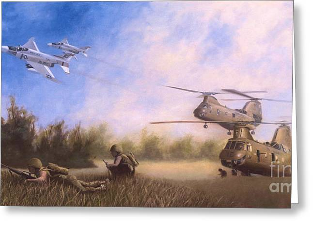 Usmc Greeting Cards - MAGTF Vietnam Greeting Card by Stephen Roberson