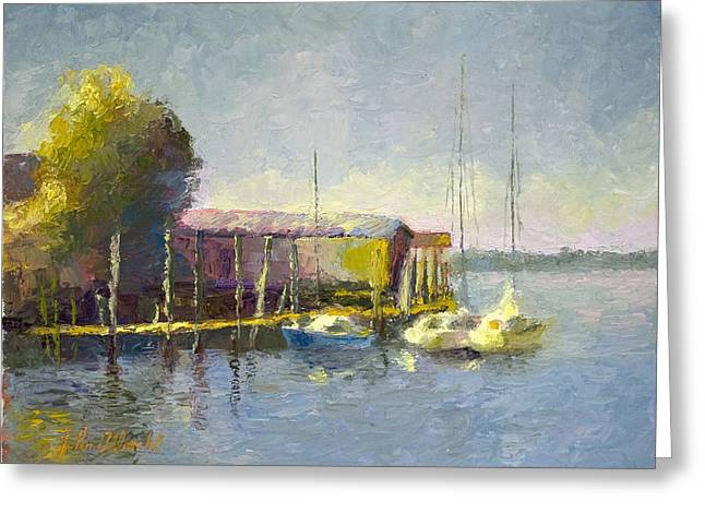 Docked Boats Greeting Cards - Magwood Docks Greeting Card by John Albrecht