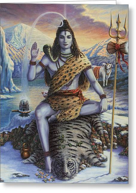Mahadeva Greeting Cards - Mahadeva Shiva Greeting Card by Vishnudas Art