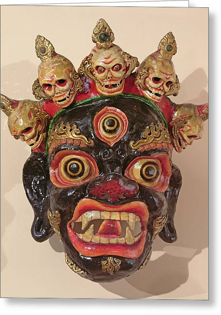 Ritual Greeting Cards - Mahakala Dance Mask Painted Wood Greeting Card by Tibetan School