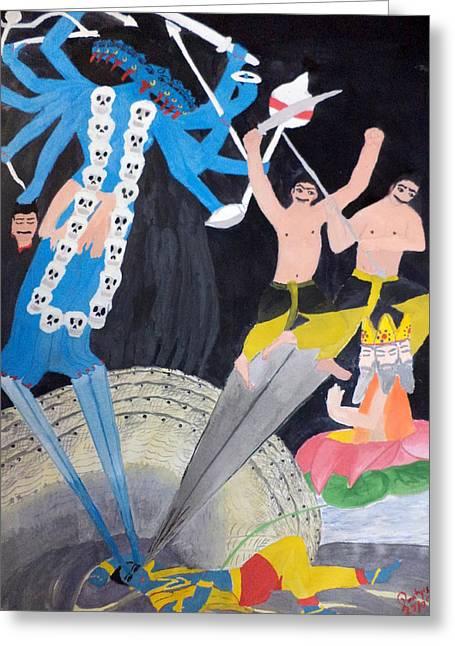 Hindu Goddess Paintings Greeting Cards - MahaKaLi Greeting Card by Pratyasha Nithin