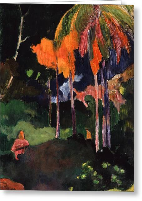Paul. Paul Gauguin Greeting Cards - Mahana Maa Greeting Card by Paul Gauguin