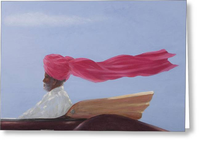 Driving Greeting Cards - Maharajah At Speed Greeting Card by Lincoln Seligman