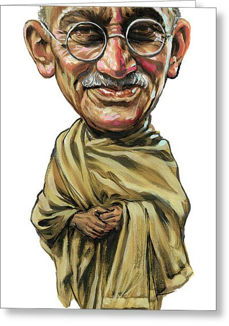 Awesome Greeting Cards - Mahatma Gandhi Greeting Card by Art