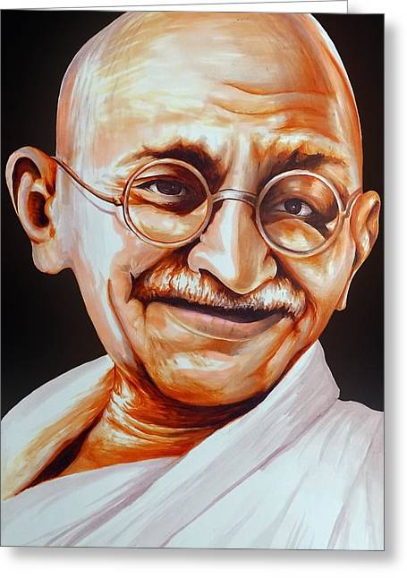 Discrimination Greeting Cards - Mahatma Gandhi Greeting Card by Arun Sivaprasad