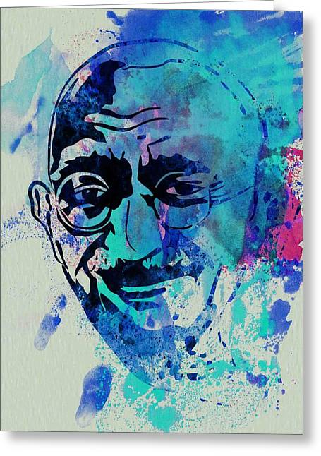 Liberation Greeting Cards - Mahatma Gandhi Watercolor Greeting Card by Naxart Studio