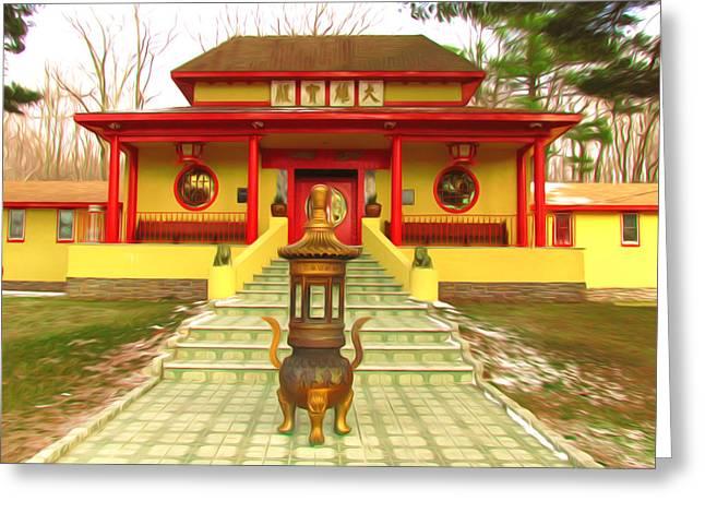Tibetan Buddhism Greeting Cards - Mahayana Buddhist temple Greeting Card by Lanjee Chee
