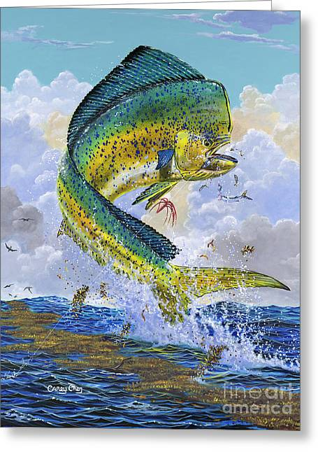Gamefish Greeting Cards - Mahi Hookup Off0020 Greeting Card by Carey Chen