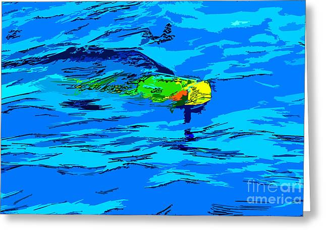 Wahoo Greeting Cards - Mahi Madness Greeting Card by Keri West