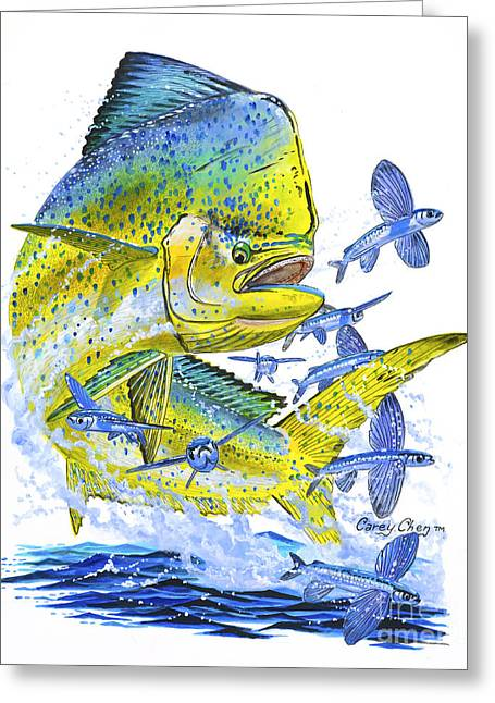 Striped Marlin Greeting Cards - Mahi Mahi Greeting Card by Carey Chen