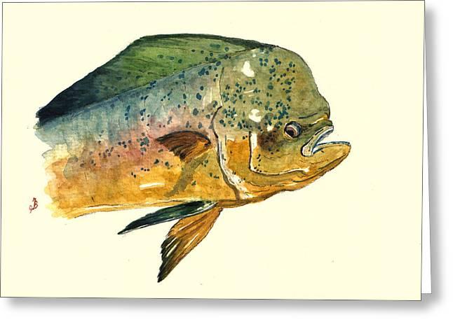 Mahi Mahi Fish Greeting Card by Juan  Bosco