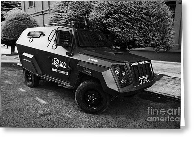 Marksman Greeting Cards - mahindra marksman armoured bulletproof vehicle owned by the carabineros de chile Punta Arenas Chile Greeting Card by Joe Fox
