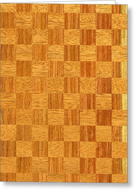 Mahogany And Padauk Chequered Pattern Greeting Card by Hakon Soreide