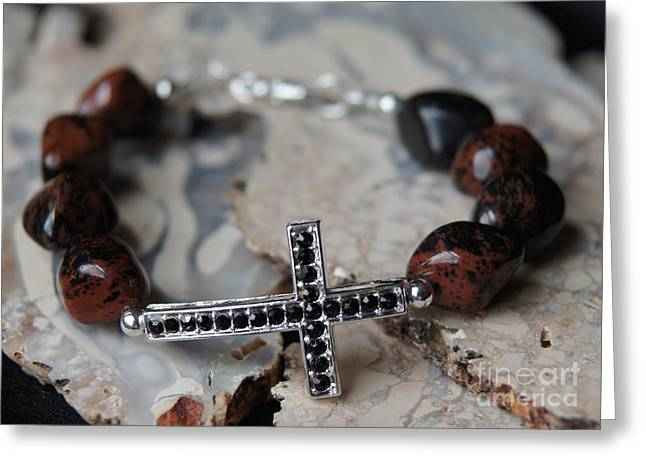 Natural Jewelry Greeting Cards - Mahogany Obsidian Cross Bracelet Greeting Card by Megan Cohen