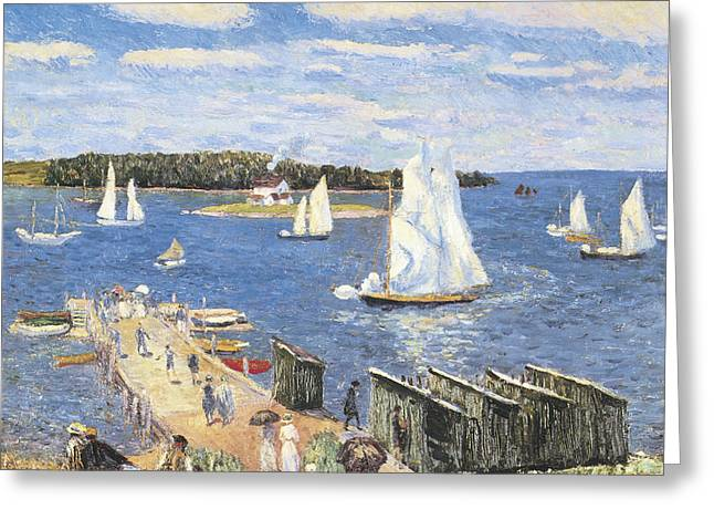 Ocean Sailing Greeting Cards - Mahone Bay Greeting Card by William Glackens