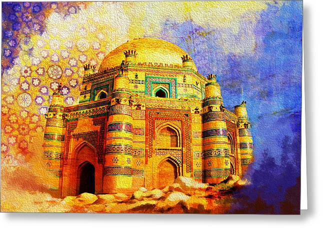 Pakistan Greeting Cards - Mai Jwandi Tomb on Makli Hill Greeting Card by Catf