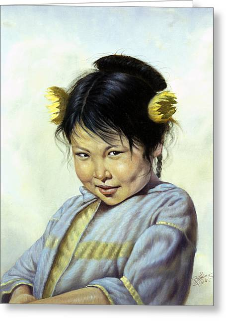 Innocence Child Digital Art Greeting Cards - Mai Li Greeting Card by Gregory Perillo