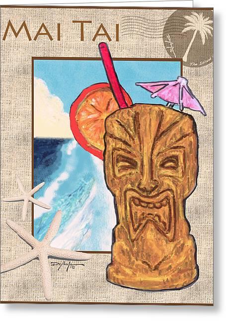 Island Artist Pastels Greeting Cards - Mai Tai Greeting Card by William Depaula