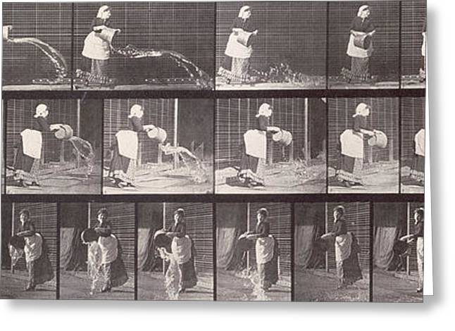 Apron Greeting Cards - Maid throwing a bucket of water Greeting Card by Eadweard Muybridge