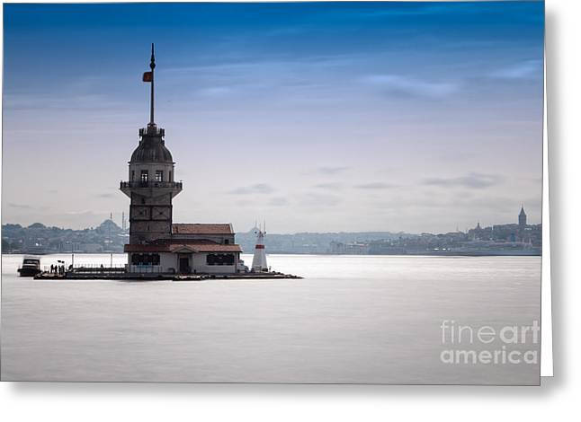 Istanbul Greeting Cards - Maiden Tower Greeting Card by Merthan Kortan