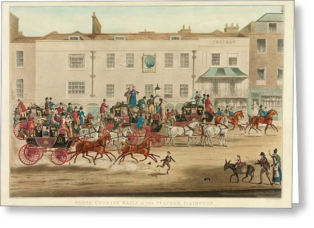 Mail Coaches In England Greeting Card by Library Of Congress