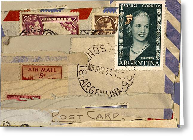 Carol Leigh Greeting Cards - Mail Collage Eva Peron Greeting Card by Carol Leigh