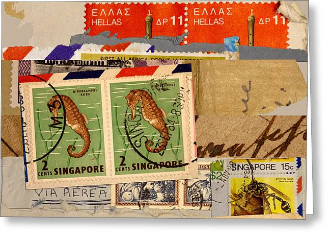 Philately Mixed Media Greeting Cards - Mail Collage Singapore Seahorse Greeting Card by Carol Leigh